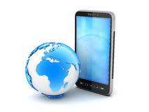 Cell phone and earth globe. On white background Royalty Free Stock Photo
