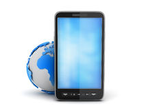 Cell phone and earth globe. On white background Stock Images