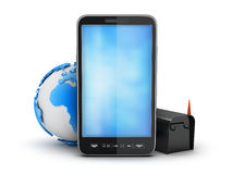 Cell phone, earth globe and mailbox. On white background Stock Image