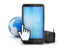 Cell phone, earth globe, mailbox and cursor hand. On white background Royalty Free Stock Photos