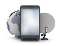 Cell phone, earth globe and satellite. On white background Stock Photos