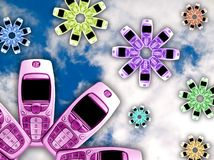 Cell Phone Flowers. Of various colours, against a cloudy background royalty free illustration