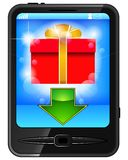 Cell phone and gift Royalty Free Stock Images