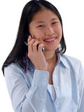 Cell Phone Girl. Happy young Asian girl talking on a cellphone stock photography