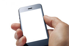 Cell Mobile Phone Hand. A man holding a mobile cell phone isolated on white close up, with a blank screen stock image