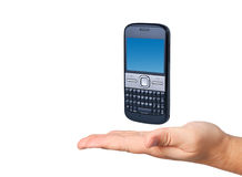 Cell phone in hand isolated. Royalty Free Stock Photos