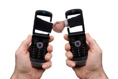 Cell phone Handshake Royalty Free Stock Photos