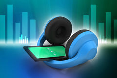 Cell phone with headphones Stock Images
