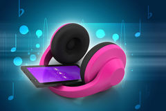 Cell phone with headphones Stock Image