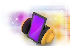 Cell phone with headphones Royalty Free Stock Images
