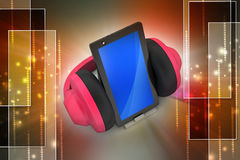 Cell phone with headphones Royalty Free Stock Photography