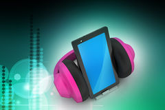 Cell phone with headphones Royalty Free Stock Image