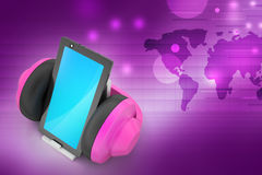 Cell phone with headphones Stock Photos