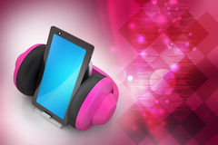 Cell phone with headphones Royalty Free Stock Photo