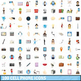 100 cell phone icons set, cartoon style. 100 cell phone icons set in cartoon style for any design vector illustration stock illustration