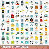 100 cell phone icons set, flat style Royalty Free Stock Photography