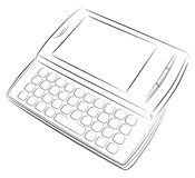 Cell phone with keyboard. Vector drawing Stock Photography
