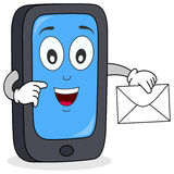 Cell Phone with Mail Character. A funny cartoon cell phone character with a new mail or message for you. Eps file available Royalty Free Stock Photos