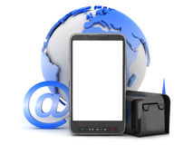 Cell phone, mailbox, globe and e-mail sign Royalty Free Stock Photo