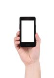 Cell phone in man's hand. Isolated on a white background Royalty Free Stock Photo