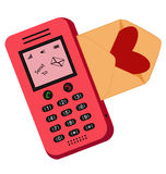 Cell phone with message. Cell phone sending a message with an envelope containing a heart isolated against a white background Royalty Free Stock Photo