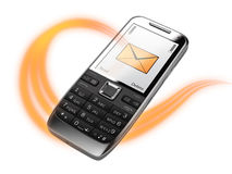 Cell phone with message. Acloseup of cell phone with incoming message Stock Photo