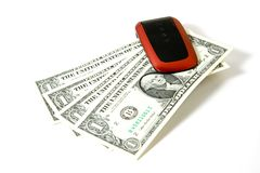 Cell phone with money Royalty Free Stock Photo