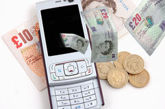 Cell phone and money isolated Stock Image