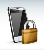 Cell phone and padlock Stock Photos