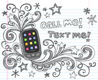 Cell Phone PDA Back to School Doodle Set Vector. Smart Phone / Cell Phone / PDA Hand-Drawn Sketchy Back to School Style Notebook Doodles with Stars and Swirls Stock Photography