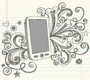 Cell Phone PDA Sketchy Doodles Vector. Mobile Cell Phone PDA Sketchy Hand-Drawn Back to School Notebook Vector Illustration Design Elements on Lined Sketchbook Stock Photos