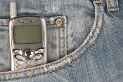 Cell phone in pocket Royalty Free Stock Photo