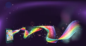 Cell phone rainbow background Stock Photo