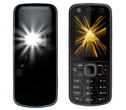 Cell Phone Recto Verso With Camera Flash On The Ba Royalty Free Stock Photography