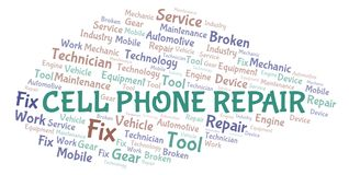 Cell Phone Repair word cloud. Wordcloud made with text only royalty free illustration
