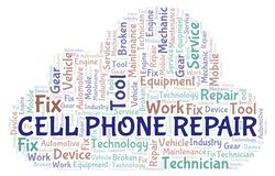 Cell Phone Repair word cloud. Wordcloud made with text only vector illustration
