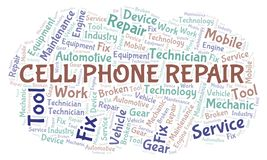 Cell Phone Repair word cloud. Wordcloud made with text only stock illustration