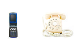 Cell Phone, Rotary Phone Royalty Free Stock Images