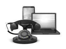 Cell phone, rotary phone and laptop Stock Image