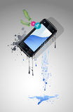 Cell phone with a screen. From which water flows Stock Photo