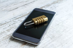 Cell phone security locked Stock Photo