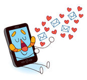 Cell phone sending love messages Stock Image
