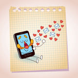 Cell phone sending love messages note paper cartoon sketch Stock Image