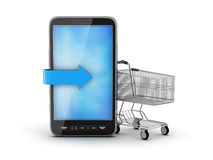 Cell phone and shopping cart Stock Photo