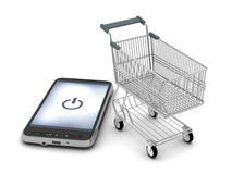 Cell phone and shopping cart Stock Image