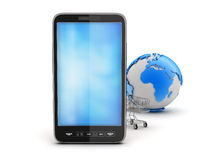 Cell phone, shopping cart and earth globe. On white background Royalty Free Stock Photography