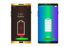 Cell phone show low battery 10% and one smart mobile is full vector template royalty free illustration