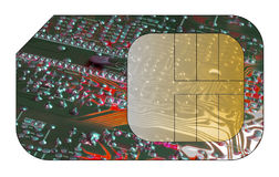 Cell phone sim card. With circuit board overlay Royalty Free Stock Photography