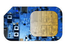 Cell phone sim card. With circuit board overlay Stock Photography