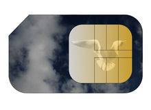 Cell phone sim card. With circuit board overlay Royalty Free Stock Image